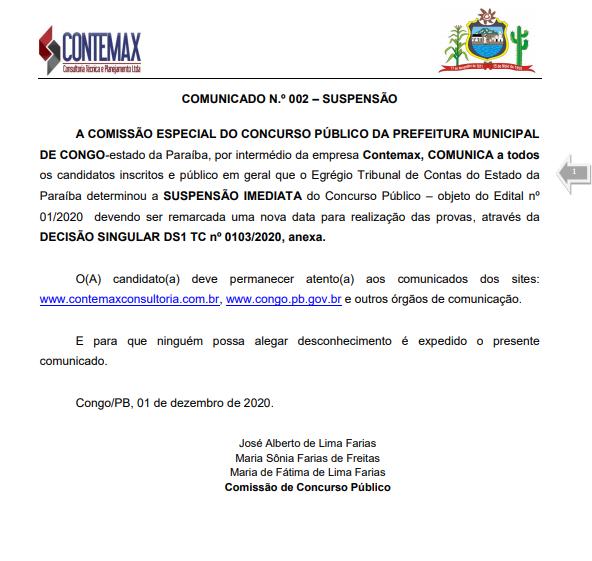 concurso TCE determina suspensão do Concurso da Prefeitura do Congo; confira